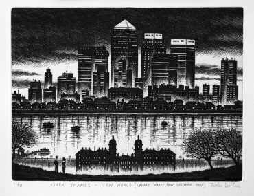 John Duffin River Thames - Canary Wharf from Greenwich Park 2009 Etching 21 x 30 cm £195.00
