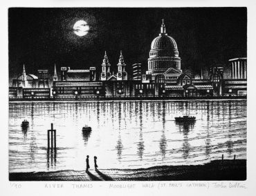 River Thames - Moonlight Walk (St Paul's Cathedral) 2010  etching 21 x 30 cm (9 x 12 inch) edition 90 65 available