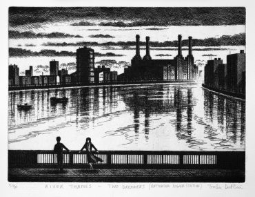 River Thames - Two Dreamers (Battersea Power Station) etching 21 x 30 cm (9 x 12 inch)